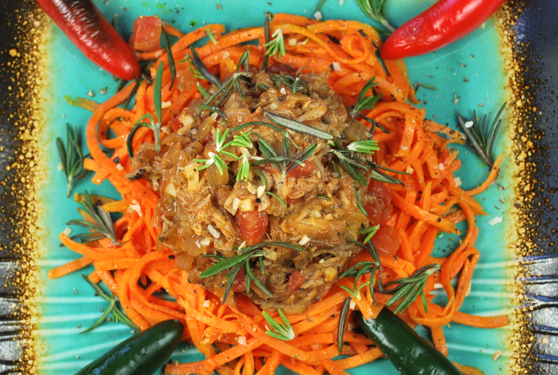 spiralizing recipes - rosemary pork ragout with sweet potato pasta