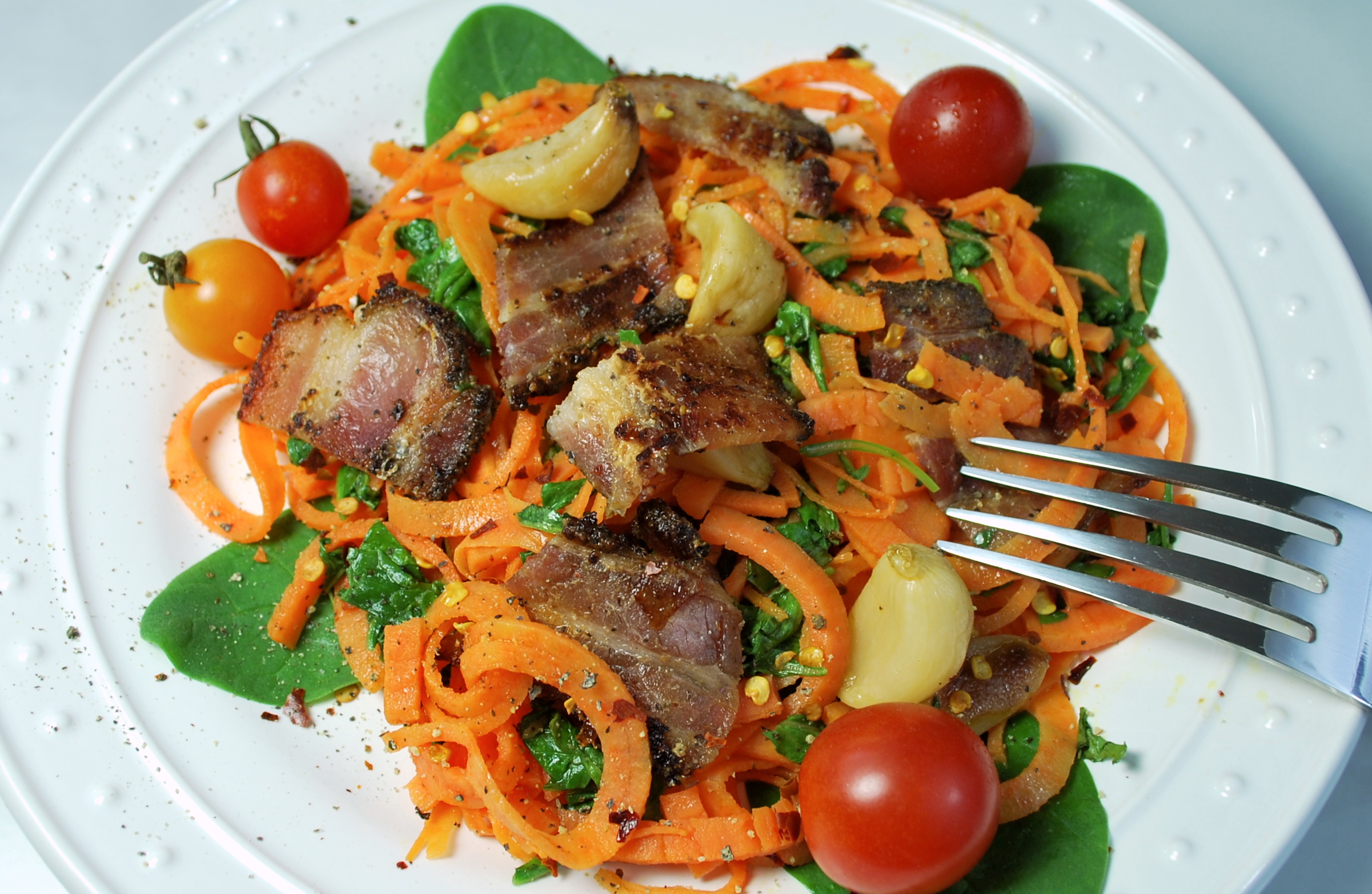 Spiralizing recipes - paleo main dishes - pumpkin pasta bacon greens
