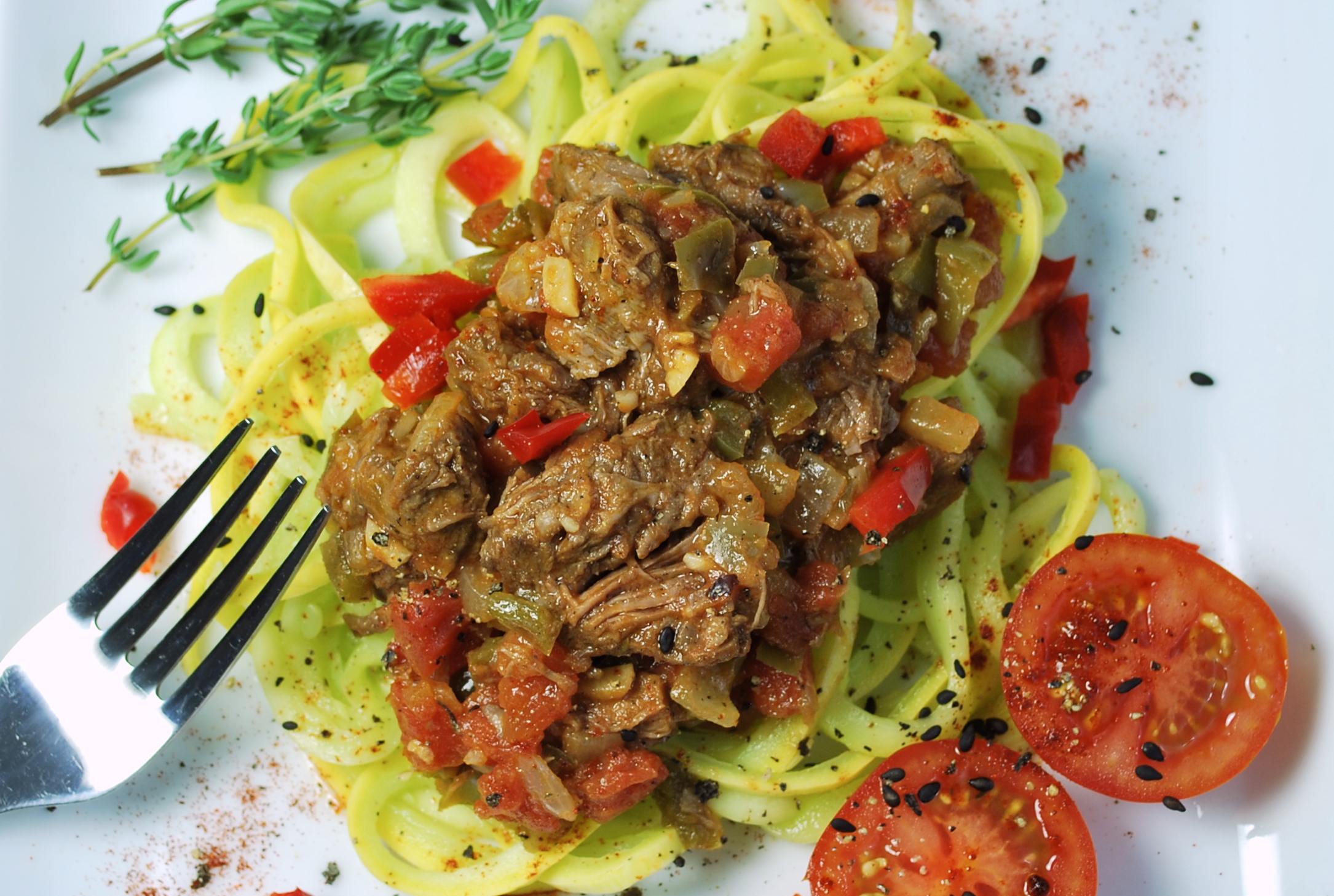 spiralizing recipes - beef paprikash with squash noodles