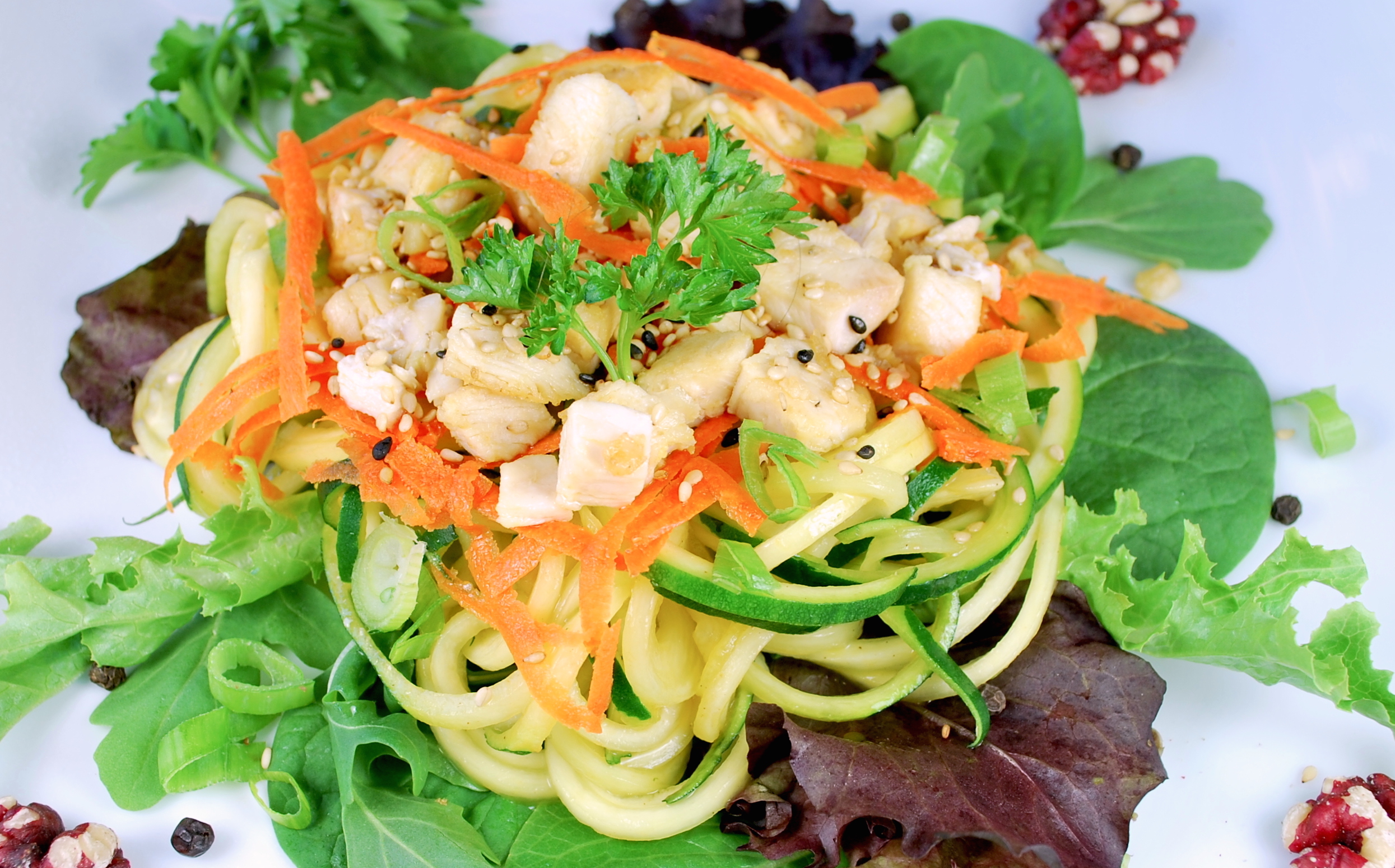 spiralizing recipes - salads - Asian Chicken Noodle salad
