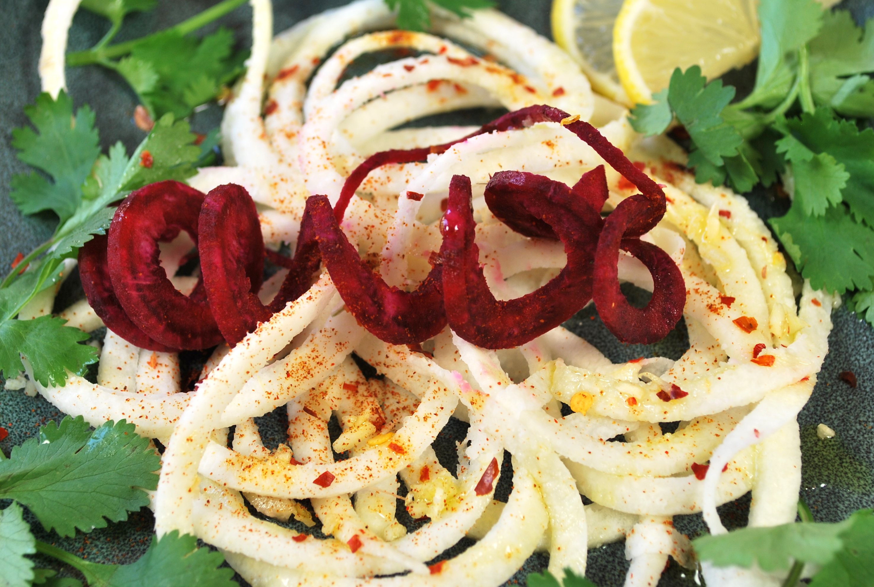 spiralizing recipes - salads - south of the border jicama salad
