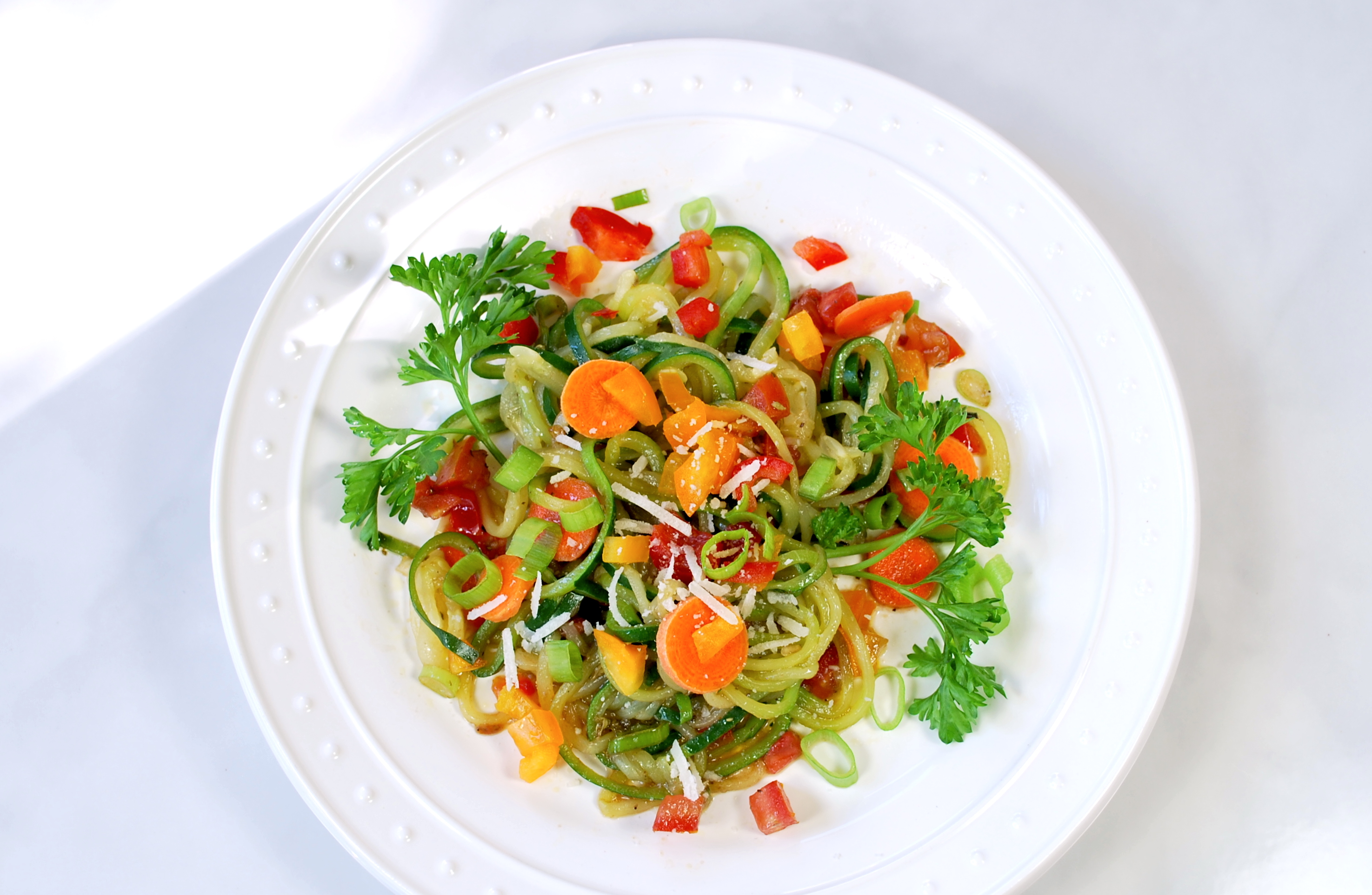 spiralizing recipes - salads - pasta primavera salad