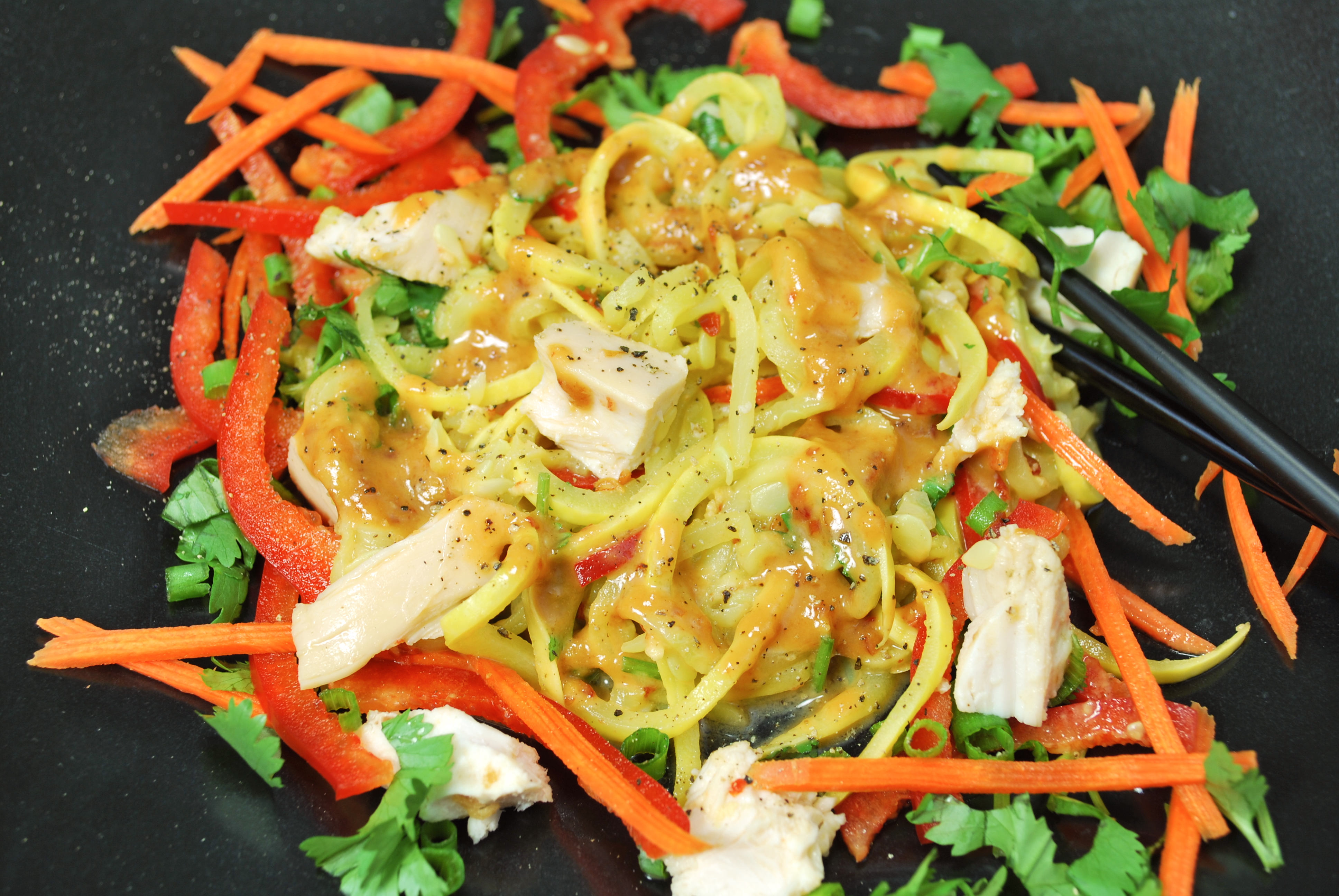 spiralizing recipes - salads - asian chicken and noodle salad