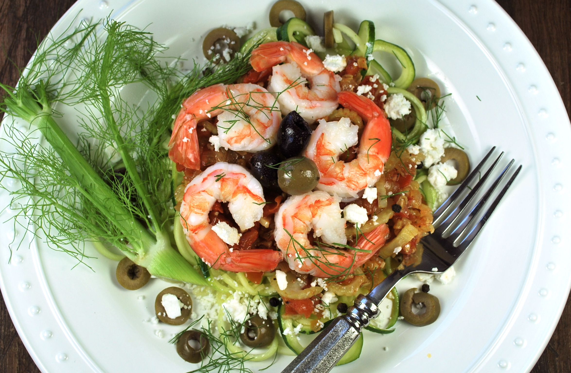 spiralizing recipes - shrimp feta olives