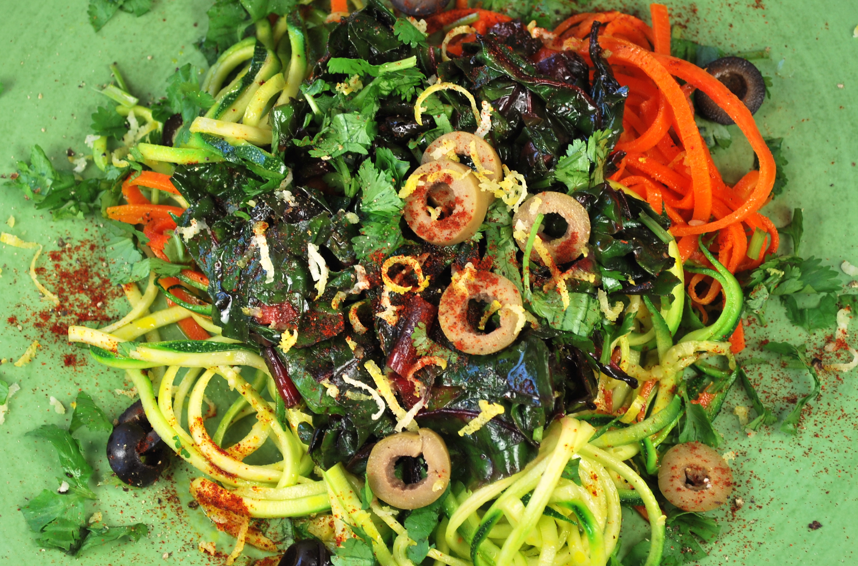 spiralizing recipes - lemon chard pasta