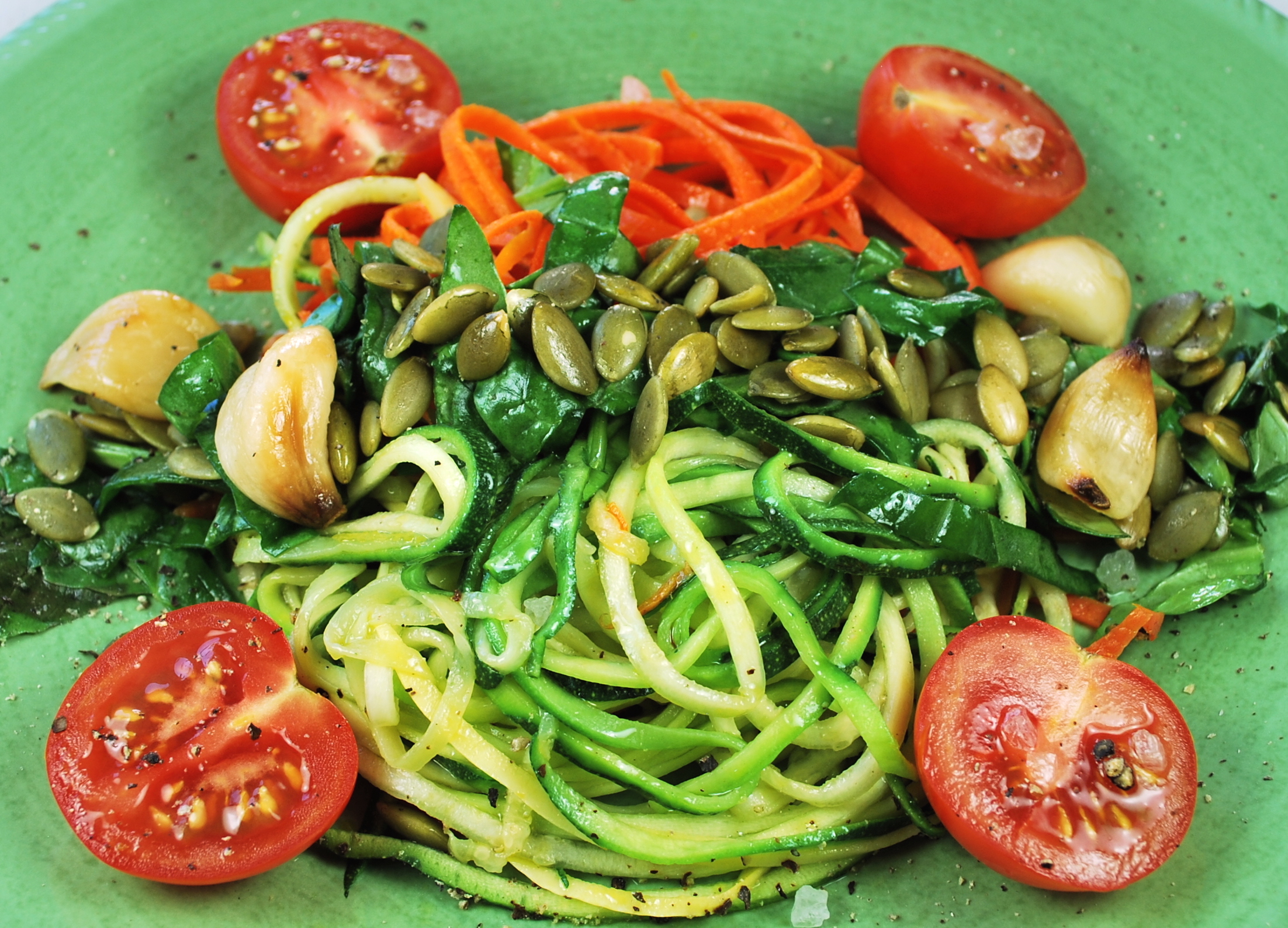 spiralizing recipes - carrot and zucchini spaghetti olive oil