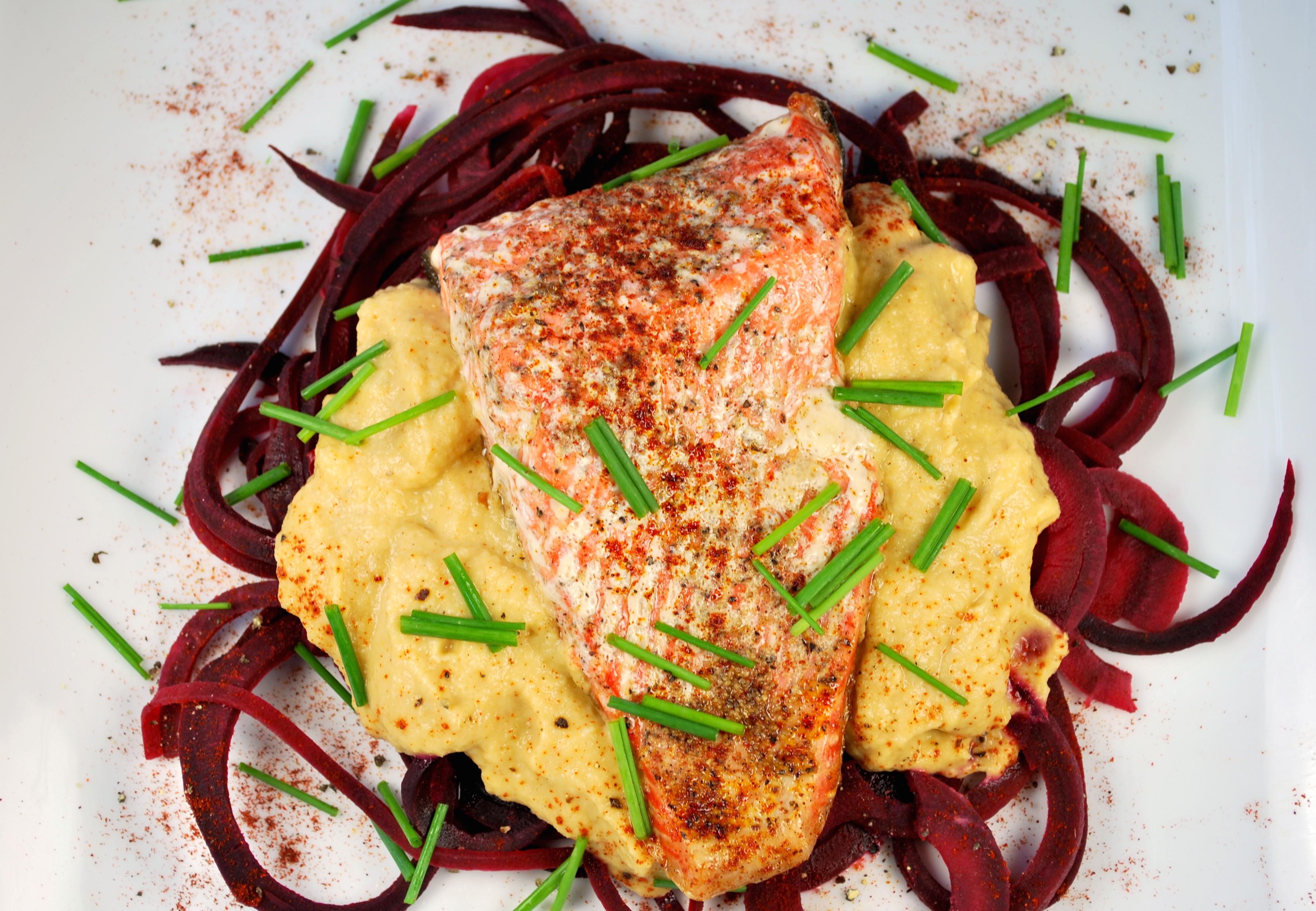 spiralizing recipes - beet pasta salmon