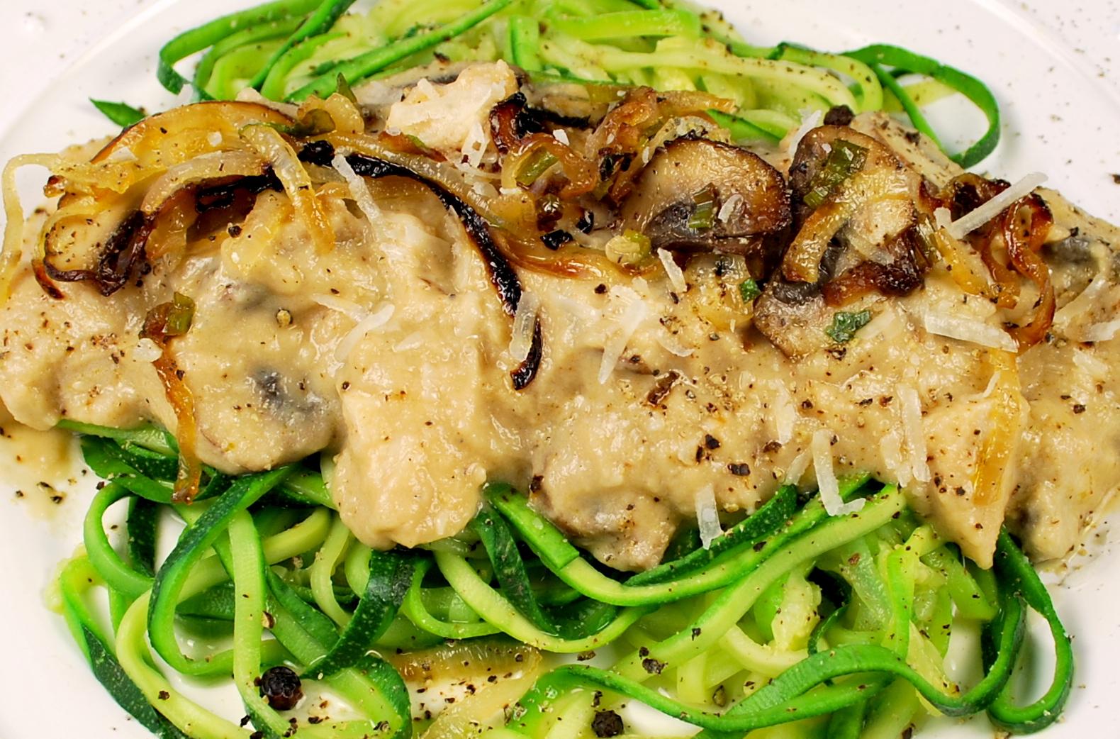 spiralizing recipes - creamy zucchini chicken