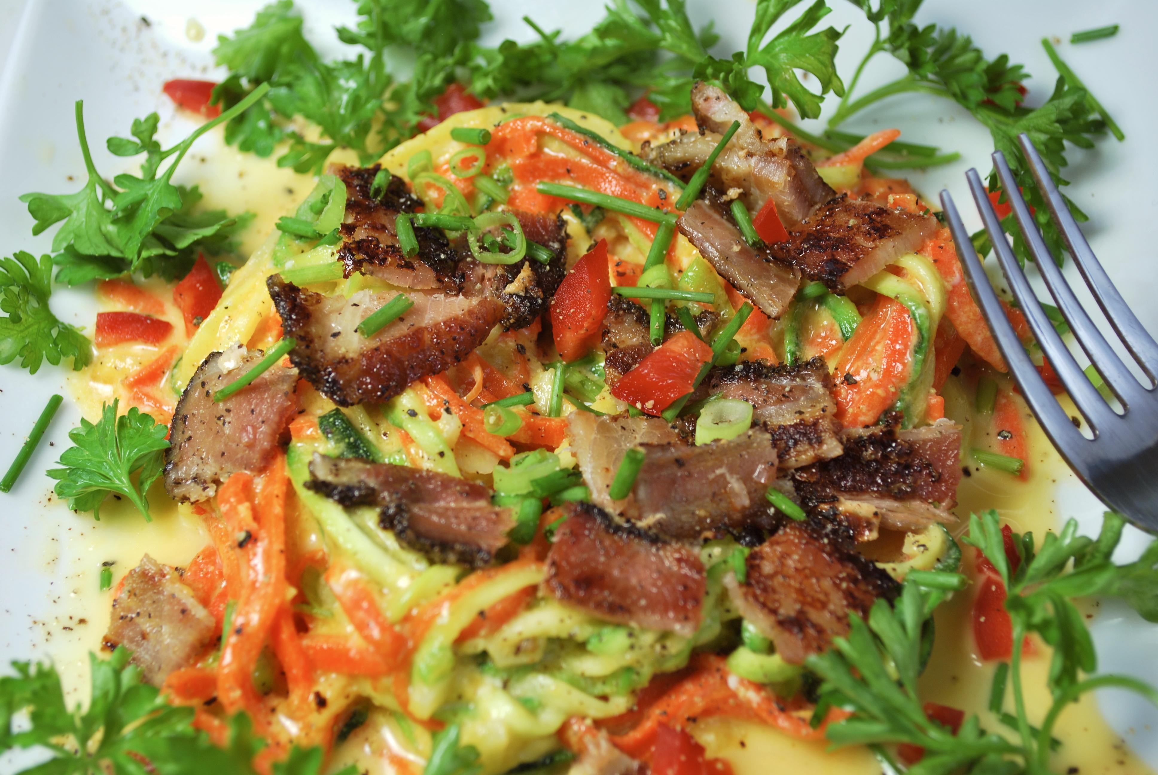 "spiralizing recipes - pasta carbonara ""lite"""