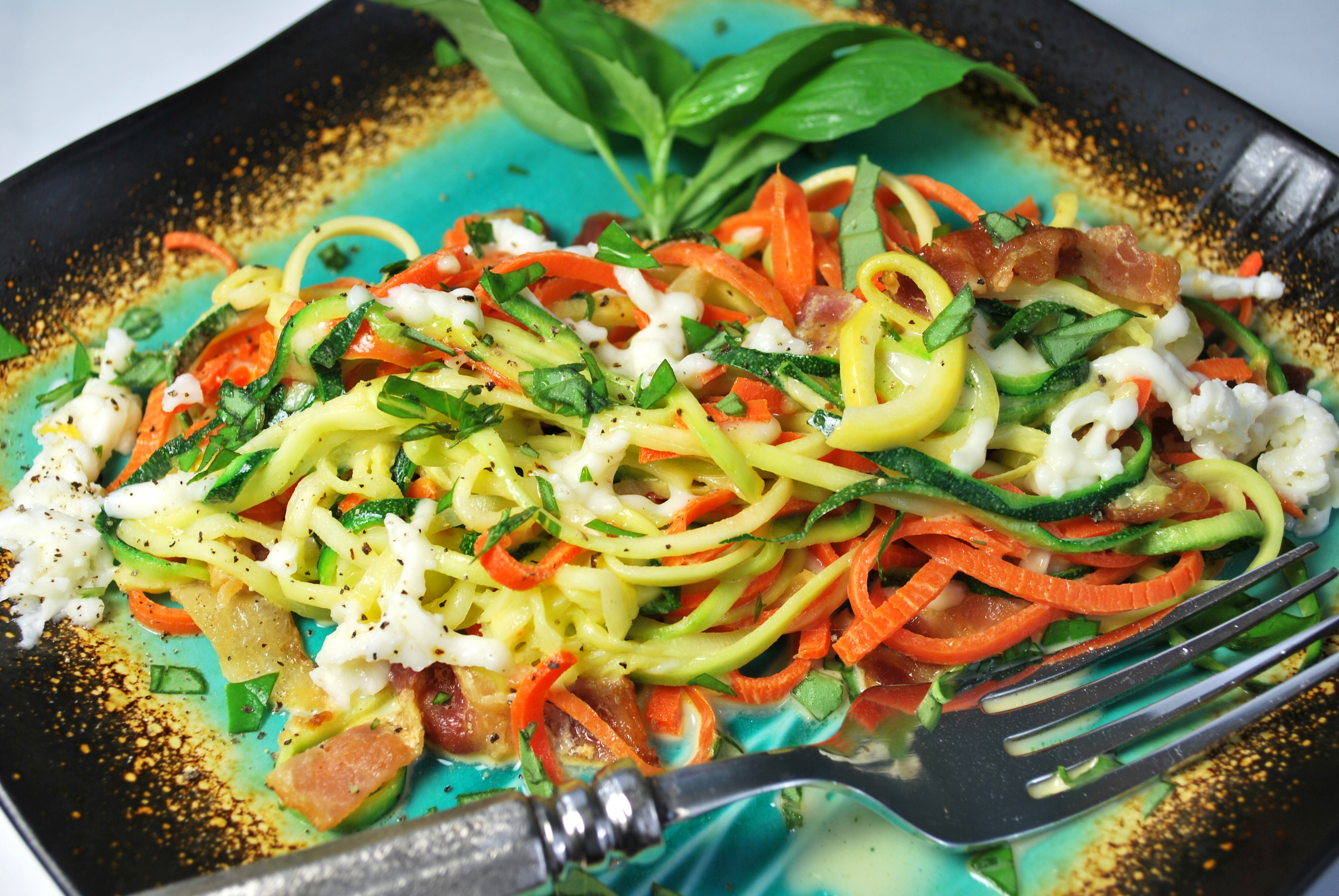 spiralizing recipes - pasta and cheese with bacon
