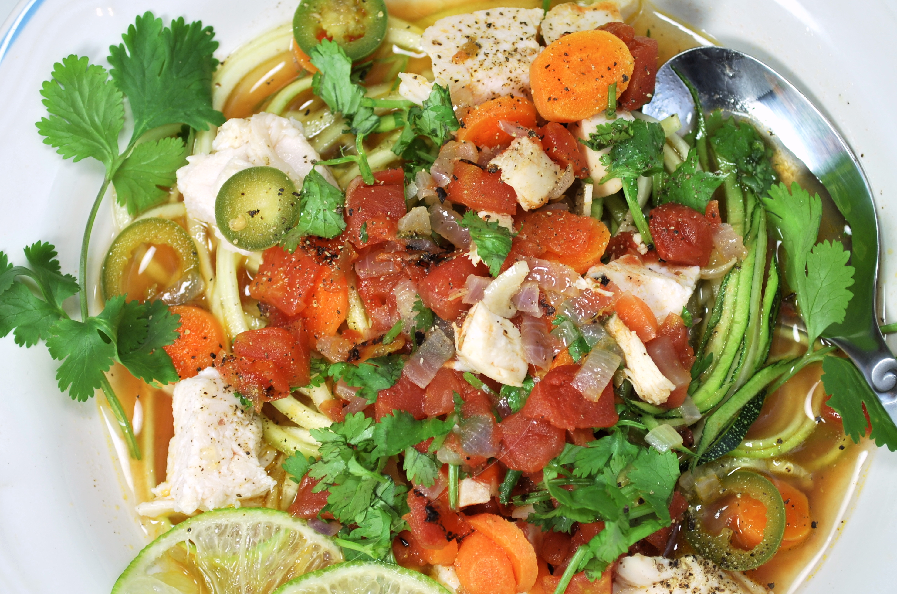 spiralizing recipes - soups - mexican chicken noodle soup