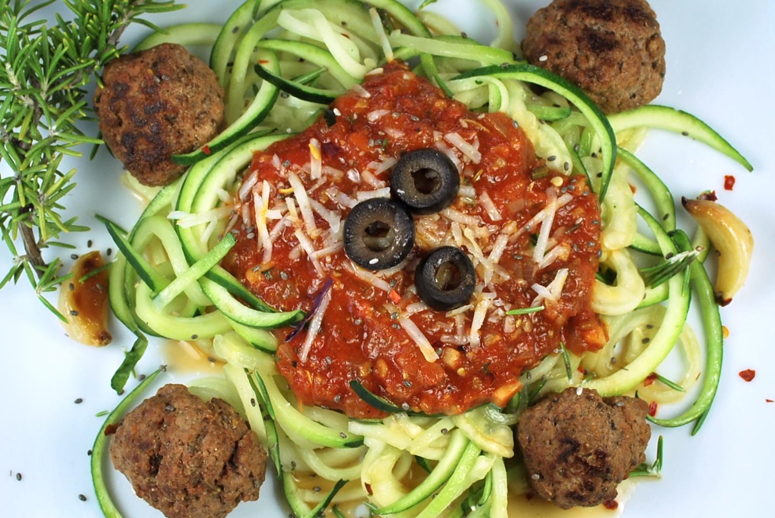 spiralizing recipes - turkey chia meatballs