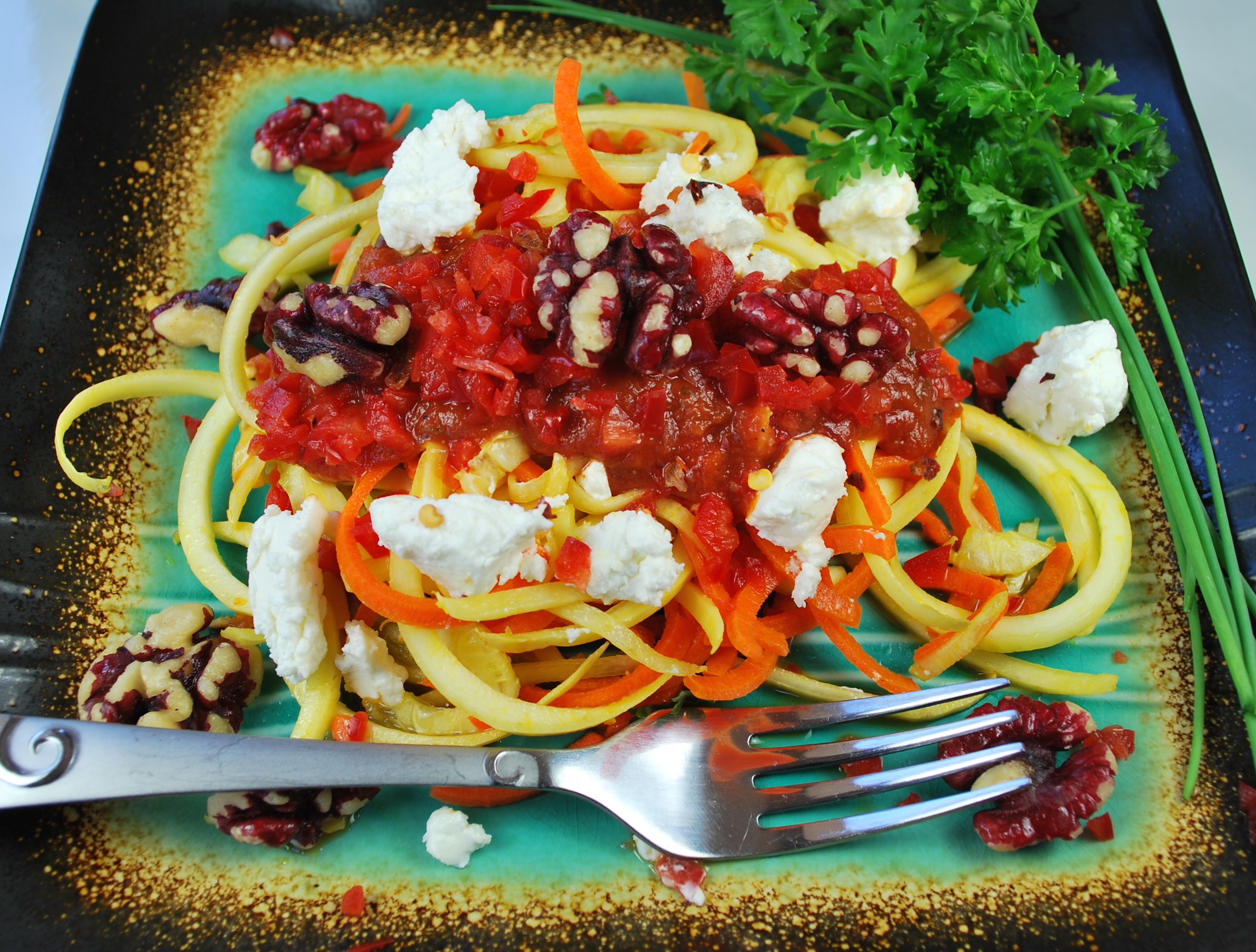 spiralizing recipes - Pasta Roasted Red Pepper Walnut Goat Cheese